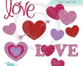 Valentine Digital Clipart, Heart Clipart, Love Clipart, Love Word Art, Glitter Clipart