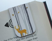 Magnetic Bookmark, Orange Deer in Aspen, Birch Trees, Nature, Manly Bookmark