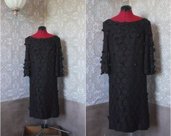 Vintage 1960's Black Dress with 3D Flowers M/L