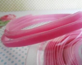 """Ribbon Velvet Pink 4Yards 1/4""""width"""