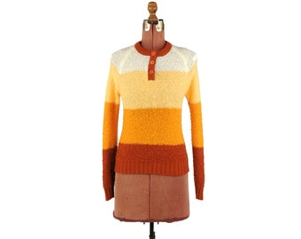 Vintage 1970's Orange & Yellow Bold Stripe Ombre Preppy Retro Crew Neck Pull Over Sweater M