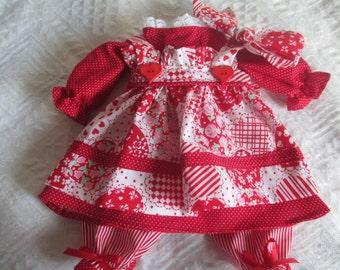 Handmade Valentine Raggedy Ann Doll Dress for a 18-20'' Doll Made by Jodi Lynn