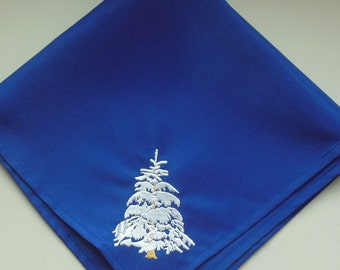 Royal Blue Embroidered Winter Napkins