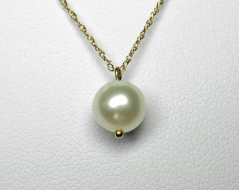 Pearl Necklace in Gold, 7mm