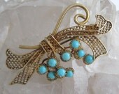 Vintage Turquoise Glass Vermeil Filigree Pin Robin Egg Blue Gold Gilt Silver