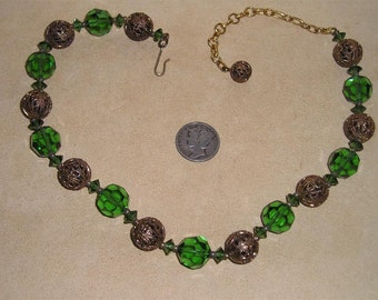 Vintage West Germany Necklace With Green Cut Crystal Filigree Brass Balls Choker 1960's Unsigned Jewelry C15