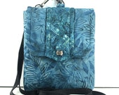 SALE ITEM/ Batik Denim Blue Small Padded Pouch / Camera Case / Small Fabric Tote