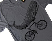Mens Whale on a Bike Funny Bicycle T Shirt - American Apparel Tee - S M L Xl and Xxl (15 Color Options)