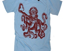 Octopus in Vintage Deep Sea Diver Helmet T-Shirt tee - American Apparel Tshirt - S M L Xl and Xxl (7 Color Options)