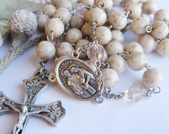 Rosary prayer beads made with your dried flowers, fabrics, sands ashes holding your memories