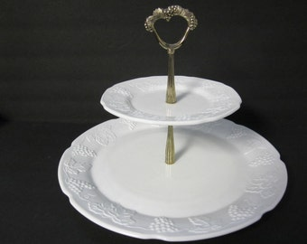 White Milk Glass Two Tiered Cake Stand,  Candy,  Cookie,  Dessert, Cupcake,  Hors d'oeuvres, Serving Plate, Parties, and Weddings