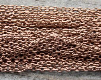 32 Ft Antiqued Copper Cable Chain 3mm by 2mm NIckel Free