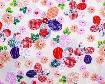 C2003B - 1 meter  Cotton Fabric - Flowers on Light Yellow (145cm width)