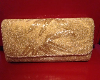 Beautiful vintage Japanese gold beaded clutch evening bag with bamboo leaf detail