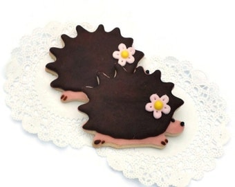Hedgehog Cookies - Woodland Sugar Cookies - 6 Cookies