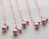 Pearl necklace in any color - Bridesmaid set  - Bridesmaid gift - 1136SET