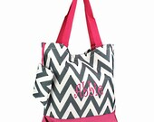 Personalized Tote Bag - Chevron Zig Zag Totebag Gray Chevron with Pink Trim- Great Dance or Overnight bag, Includes Monogram
