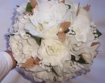 White Ivory and  Burlap wedding Brides bouquet and Coral bridesmaids Bouquets  Corsages, Bountonnieres