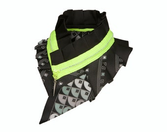 Neon zipper collar necklace, black with geometric print #97