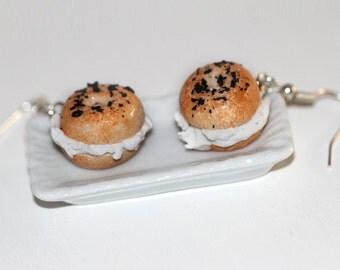 Bagel  Earrings - Sandwich Earrings -  Cream Cheese Bagel Earrings - Miniature Food Jewelry