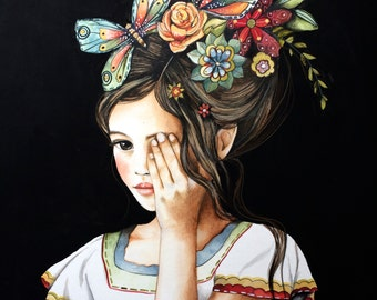 Flowers in her hair black background