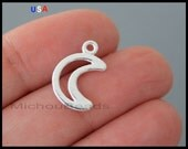 BULK 100 Silver MOON Charms - 17mm Double Sided Crescent Quarter Moon Star Constellation Sky Dangle Pendant Charm - Instant Ship - USA  6196