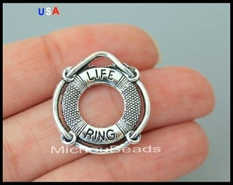 BULK 25 Silver LIFE RING Charm  - 22mm Life Preserver Donut Ring Hoop Charm - Ocean Beach Swimming Life Guard Pendant - USa Seller - 6117