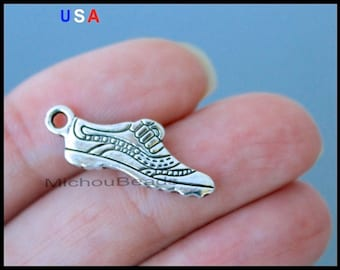 BULK 25 RUNNING Shoe Charms - 24mm Silver Running Sport Athletic Gym Metal Charm Pendants - Instant Shipping - USa Discount Charm - 6130