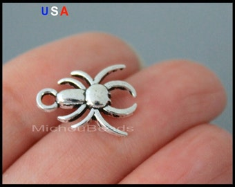 BULK 25 SPIDER Charm Pendants - 18mm Antiqued Silver Black Widow Spider Insect Metal Pendant Charm - Instant Shipping - USA - 6143