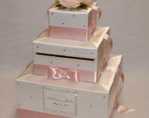 Ivory and Blush Pink Wedding Card Box-lots of bling-rhinestones-crystals