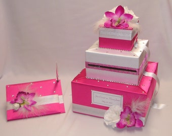 Elegant Hot Pink( Fuchsia) and White Wedding Card Box and matching Guest Book Pen set-any colors