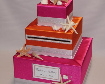 Hot Pink/Orange Beach theme Wedding Card Box-any color can be made