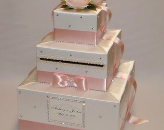 Ivory and Blush Pink Wedding Card Box-lots of bling-rhinestones-crystals