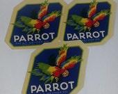 Vintage paper supplies 3 colorful bird illustrations labels Parrot old ephemera advertising lot NOS art scrapbook