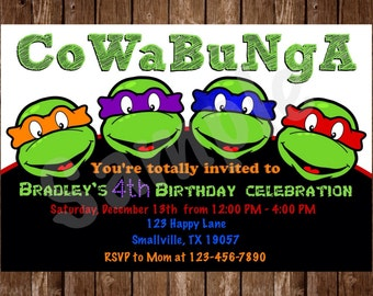 Teenage Mutant Ninja Turtle Birthday Invitation (NT04)