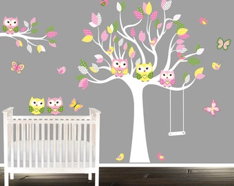 Lovely Girls Owl Wall Decals, Nursery Decal, Girls Nursery Tree, Wandtattoo Eule