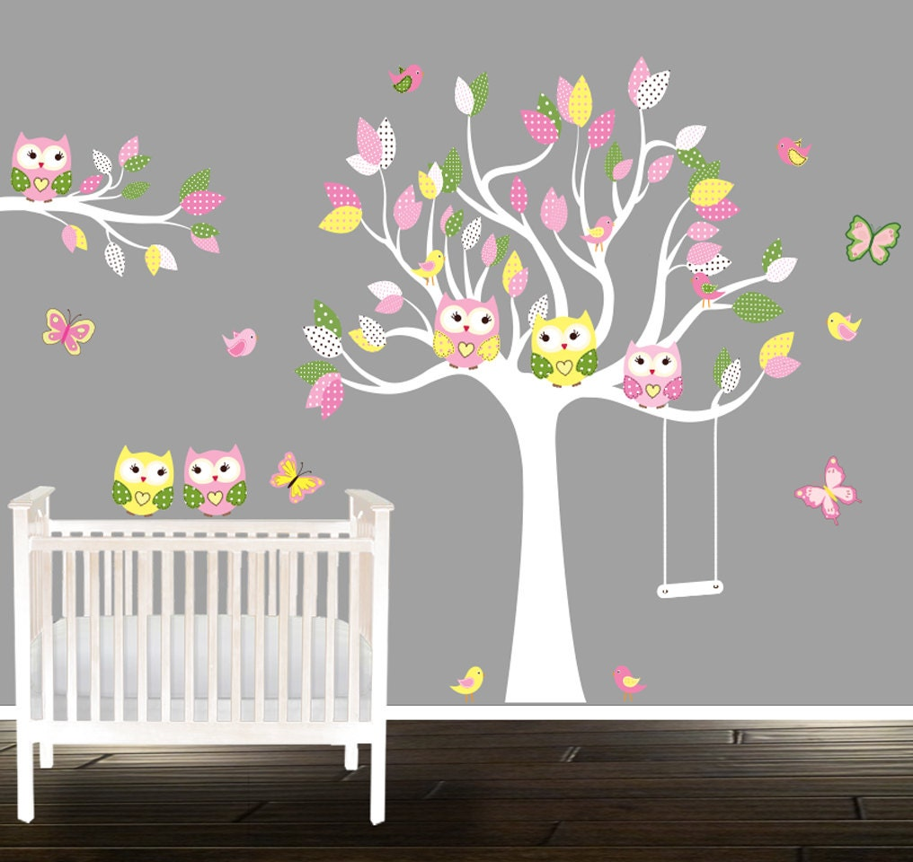 girls owl wall decals nursery decal girls nursery tree. Black Bedroom Furniture Sets. Home Design Ideas