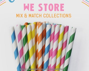 25 PAPER STRAW with free printable DIY Toppers - Over the Rainbow