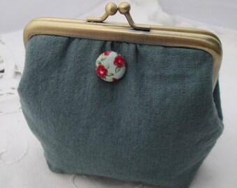 Coin purse - sage green fabric button bronze frame retro