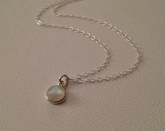 Moonstone Necklace in Sterling Silver -Silver Moonstone Necklace -Rainbow Moonstone Necklace -Tiny Moonstone