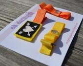 Girls, Cross Bones, Yellow, and Orange, Hair Clip Set