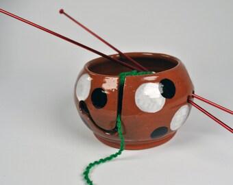 Ceramic Pottery Yarn Bowl, Knitting Bowl
