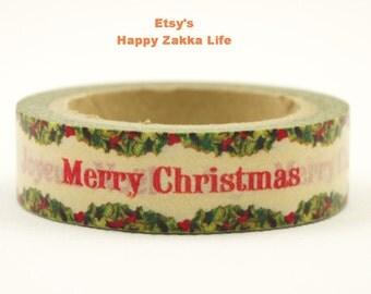 Merry Christmas Joyeux Noel - Japanese Washi Masking Tape - 11 yards