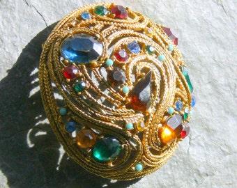 rhinestone dome brooch