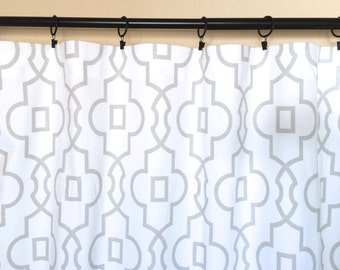 French Grey Bordeaux Trellis Curtain Panels. Window Drapes. 63, 84, 96, 108, 120 Lengths. Curtains. Geometric