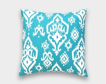 CLEARANCE Teal Blue Raji Ikat Decorative Pillow Cover. 18X18 Inches. Apache Blue Ikat Throw Pillow Cover.
