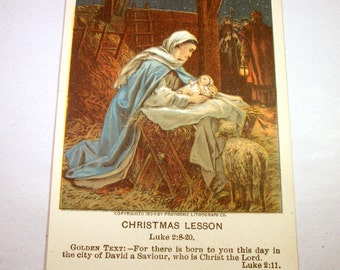 Antique Christmas Lesson Bible Card / Nativity / First Christmas / Saint Mary / Jesus / Early 1900's Christian Westminster / Pictorial