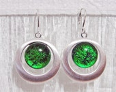 Dichroic Fused Glass Earrings Dichroic Jewelry Emerald Green Dangle Earrings Brushed Silver Satin Women Accessories Under 30 Dollars