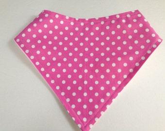Bandana Drool Bib GOTS Flannel Ta Dots Magenta Hot Pink White Designer Print Eco-Friendly Bib