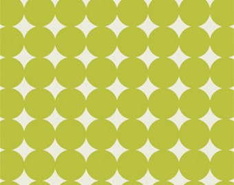 Olive Green and Cream Polka Dot Fabric - True Colors by Heather Bailey from Free Spirit - 1 Yard